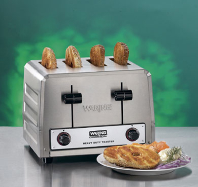 Waring WCT810 4-Slice Heavy Duty Commercial Toaster w/ 2-Wide Slots & 380-Slice/hr, Stainless