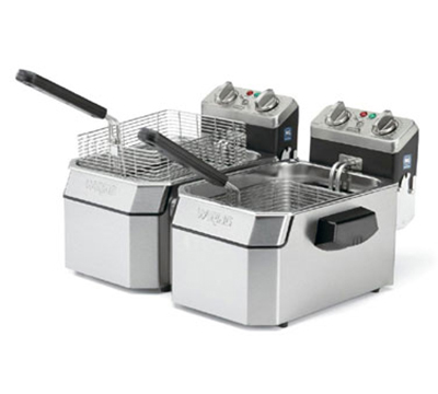 Waring WDF1000D Countertop Electric Fryer - (2) 10-lb Vat, 120v