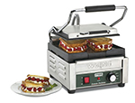 Waring WFG150 Compact Toasting Grill w/ Flat Cast Iron Plates & Adjustable Thermostats