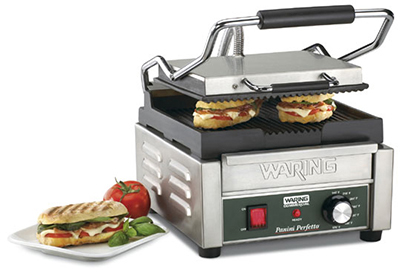 Waring WPG150B Compact Panini Grill w/ Ribbed Cast Iron Plates, 15.5x11.5-in, 208V