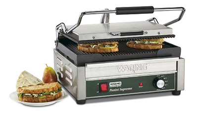 Waring WPG250B Compact Panini Grill w/ Ribbed Cast Iron Plates, 17.5x16-in, 208V