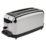 Waring WCT704 4-Slice Commercial Toaster w/ 2-Extra Wide Slots, Brushed Chrome  Steel