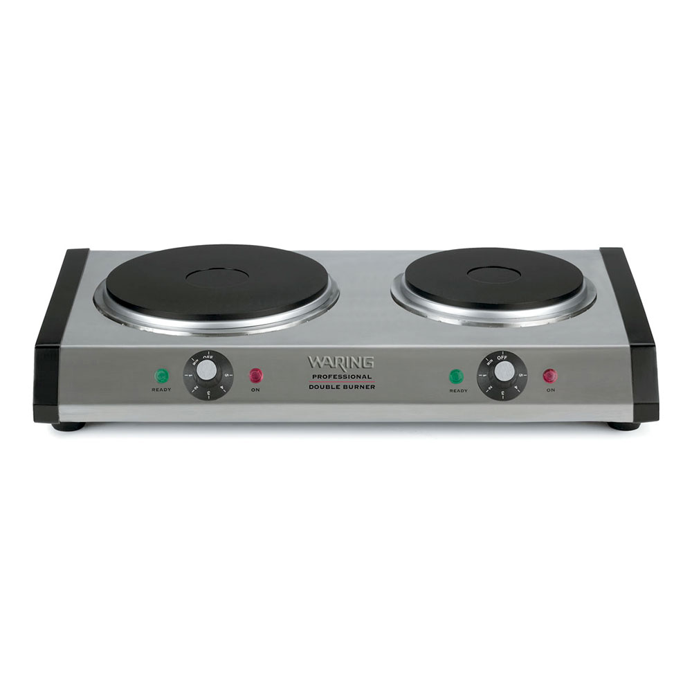Waring WDB600 Heavy Duty Commercial Double Burner w/ Cast Iron Plates & Adjustable Thermostats