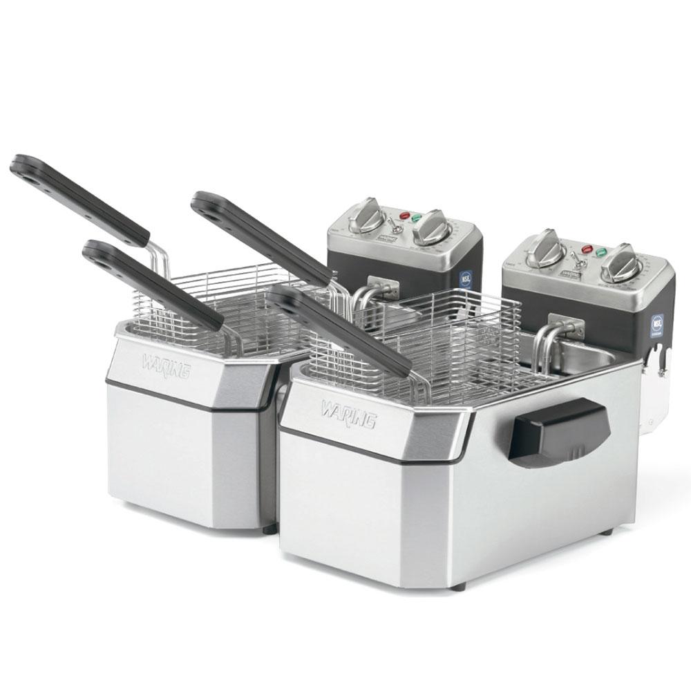 Waring WDF1000BD Countertop Electric Fryer - (2) 10-lb Vat, 208v/1ph
