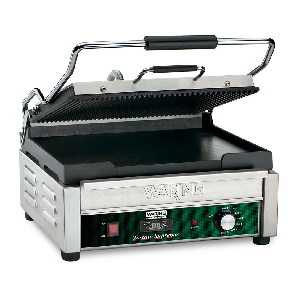 Waring WPG250T Large Panini Grill w/ Ribbed Cast Iron Plates, 17.5x16-in Cooking Surface, 120V