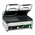Waring WDG300 Dual Surface Panini Grill w/ 1-Ribbed & 1-Flat Plate, Adjustable Thermostat