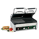 Waring WDG300 Double Commercial Panini Press w/ Cast Iron Grooved Right/Smooth Left Plates, 240v/1ph