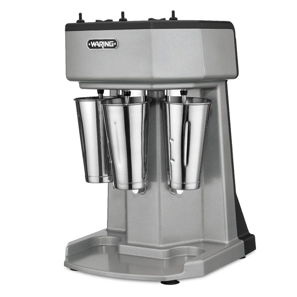 Waring WDM360 Counter Mounted Drink Mixer w/ 3-Spindle & 3-Speed Motor, Stainless Cups, 120V