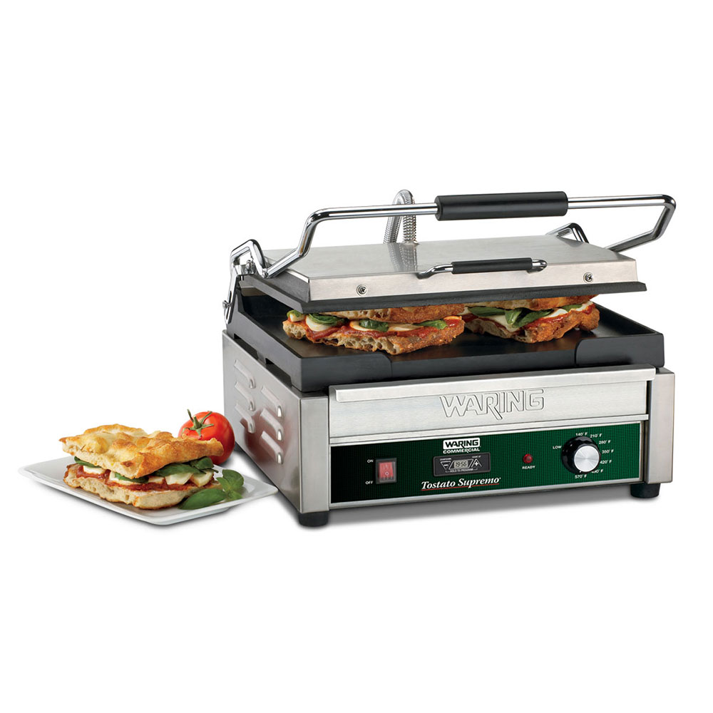 Waring WFG250T Commercial Panini Press w/ Cast Iron Smooth Plates, 120v