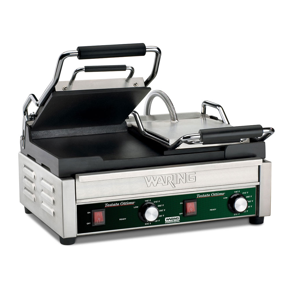 Waring WFG300 Double Commercial Panini Press w/ Cast Iron Smooth Plates, 240v/1ph