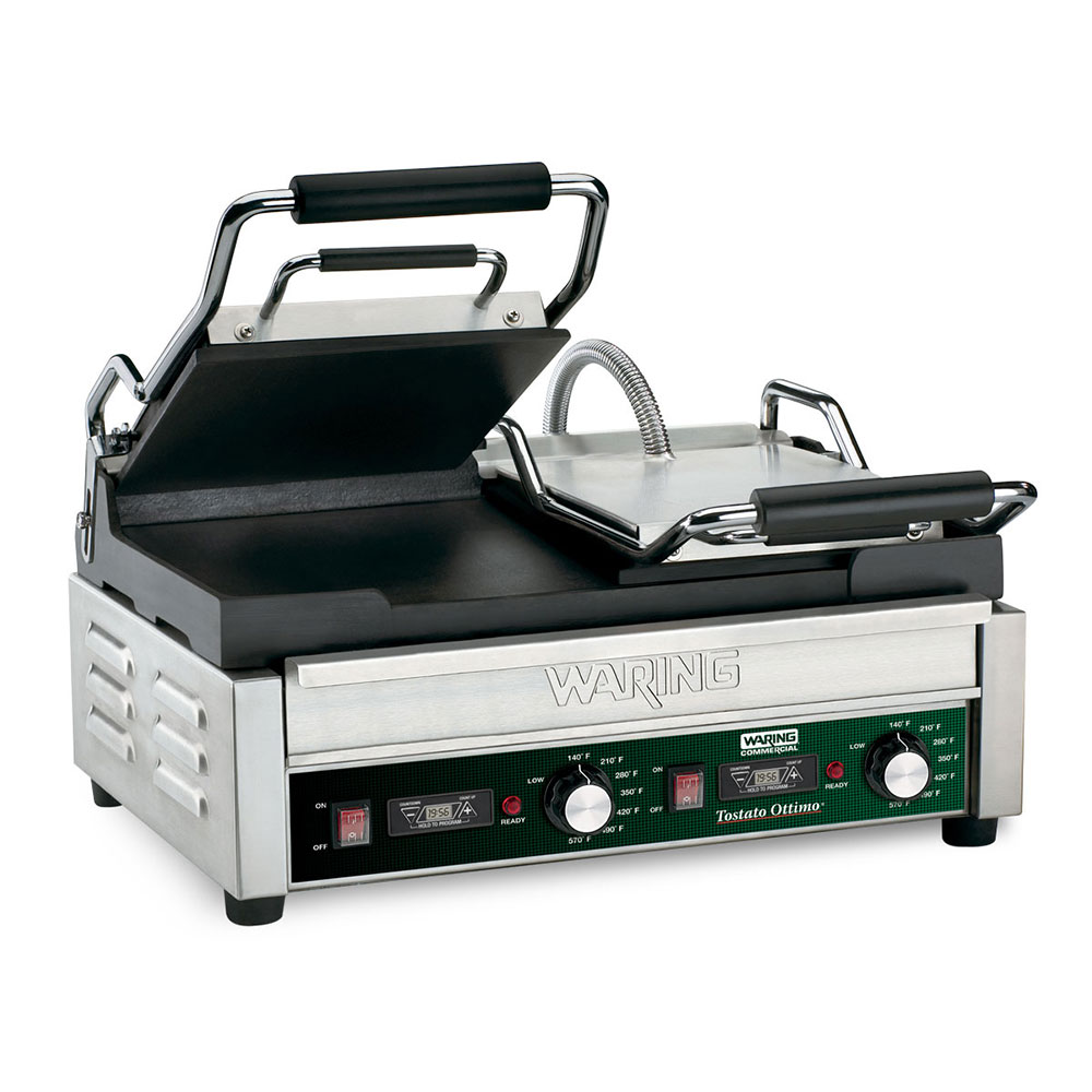 Waring WFG300T Double Commercial Panini Press w/ Cast Iron Smooth Plates, 240v/1ph