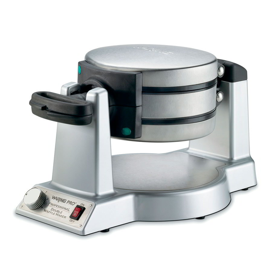 Waring WMK600 Double Belgian Waffle Maker w/ Folding Handle, Brushed Stainless