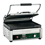 Waring WPG250TB Large Panini Grill w/ Ribbed Cast Iron Plates, 17.5x16-in Cooking Surface, 208V