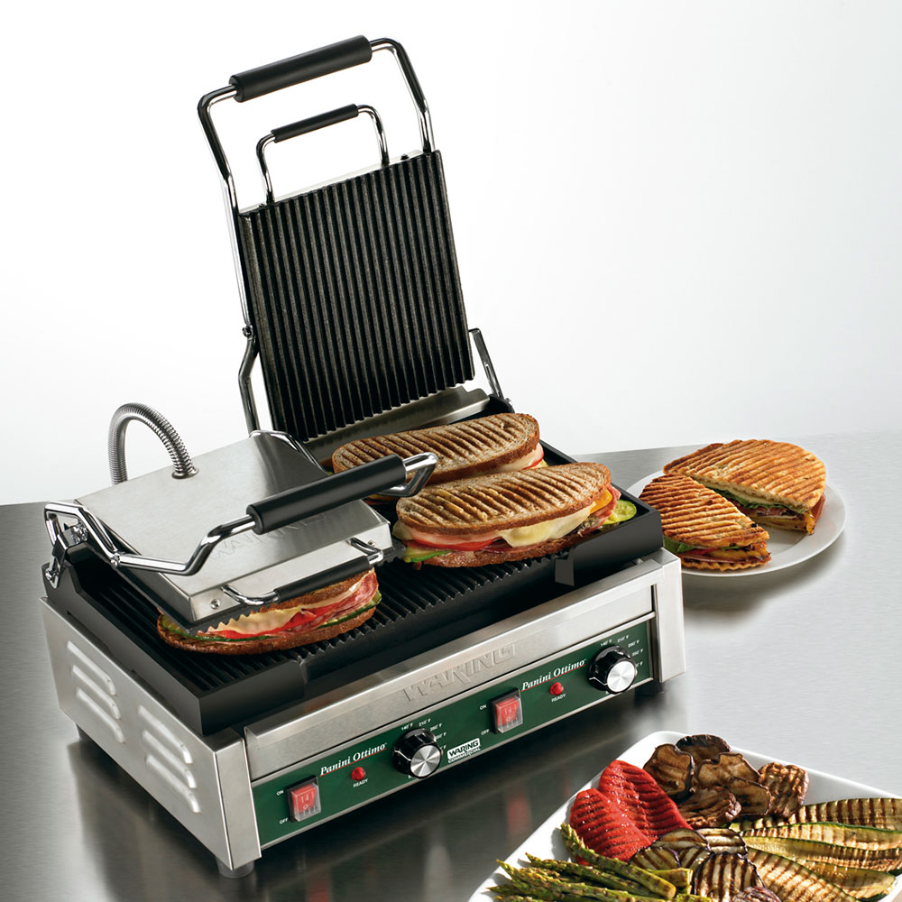 Waring WPG300 Double Commercial Panini Press w/ Cast Iron Grooved Plates, 240v/1ph