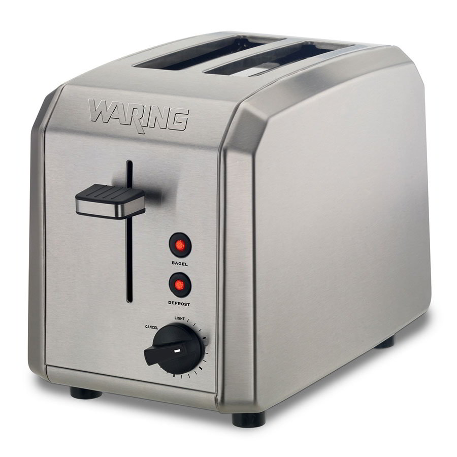 Waring WT200 2-Slice Toaster w/ Removable Crumb Tray, Brushed Stainless
