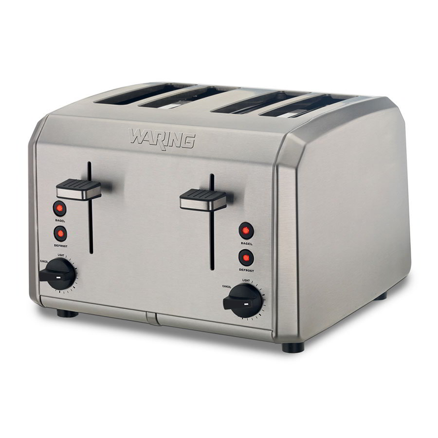 Waring WT400 4-Slice Toaster w/ Removable Crumb Tray, Brushed Stainless
