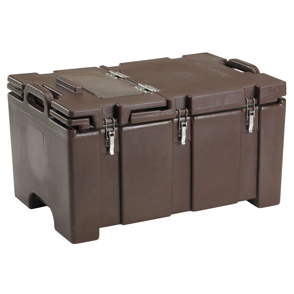 "Cambro 100MPCHL131 Insulated Food Pan Carrier - Hinged Lid, 18x26.75x15"" Dark Brown"
