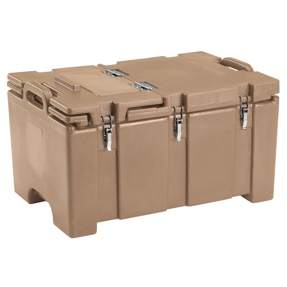 "Cambro 100MPCHL157 Insulated Food Pan Carrier - Hinged Lid, 18x26.75x15"" Coffee Beige"