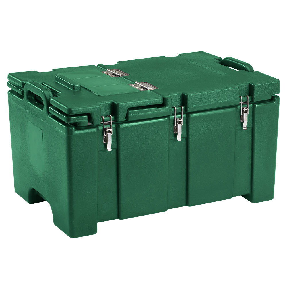 "Cambro 100MPCHL519 Insulated Food Pan Carrier - Hinged Lid, 18x26.75x15"" Green"