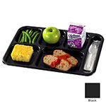 "Cambro 10146CW110 Rectangular Camwear School Tray - 6-Compartment, 10x14-1/2"" Black"