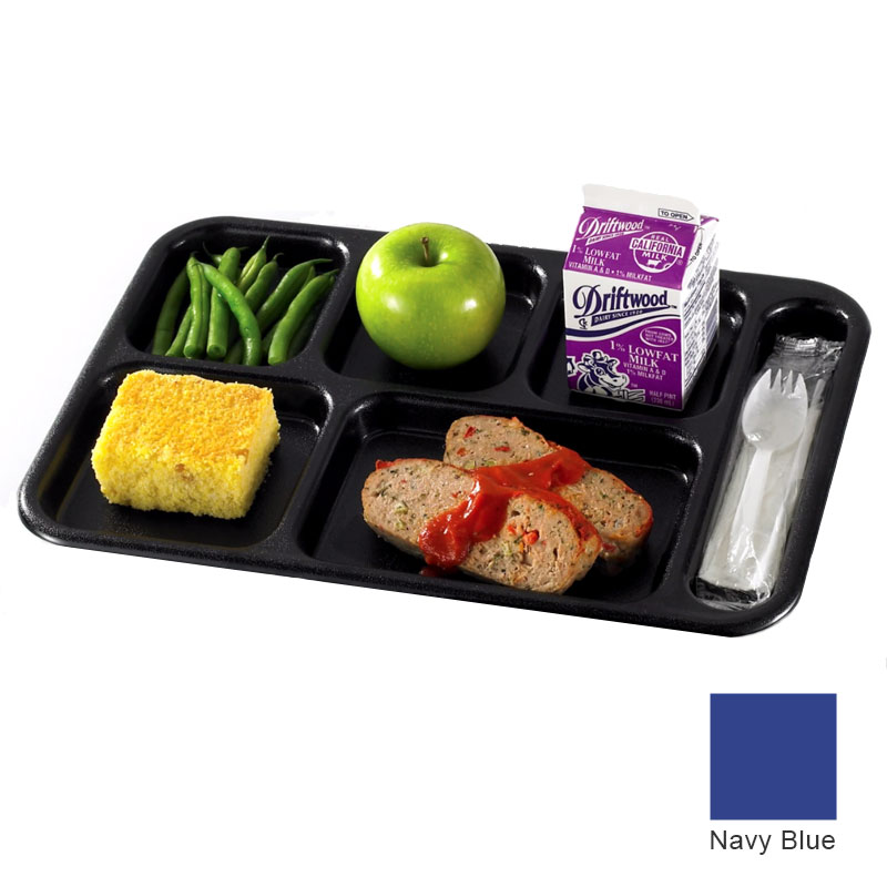 "Cambro 10146CW186 Rectangular Camwear School Tray - 6-Compartment, 10x14-1/2"" Navy Blue"