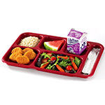 "Cambro 10146CW416 Rectangular Camwear School Tray - 6-Compartment, 10x14-1/2"" Cranberry"