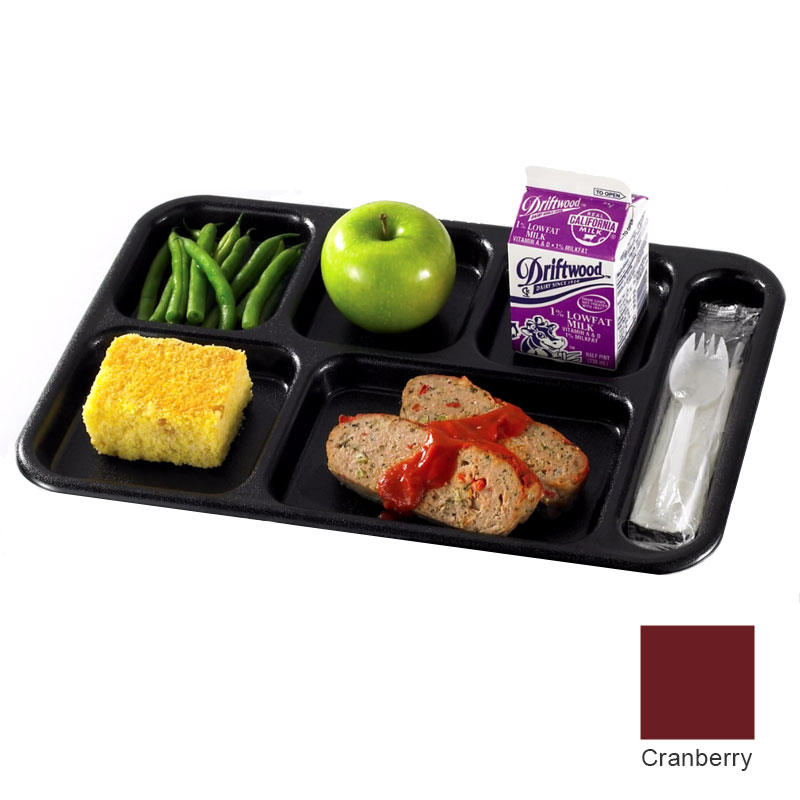 "Cambro 10146CW416 Rectangular Camwear School Tray - 6-Compartment, 10x14-1/2"" Cranberry"