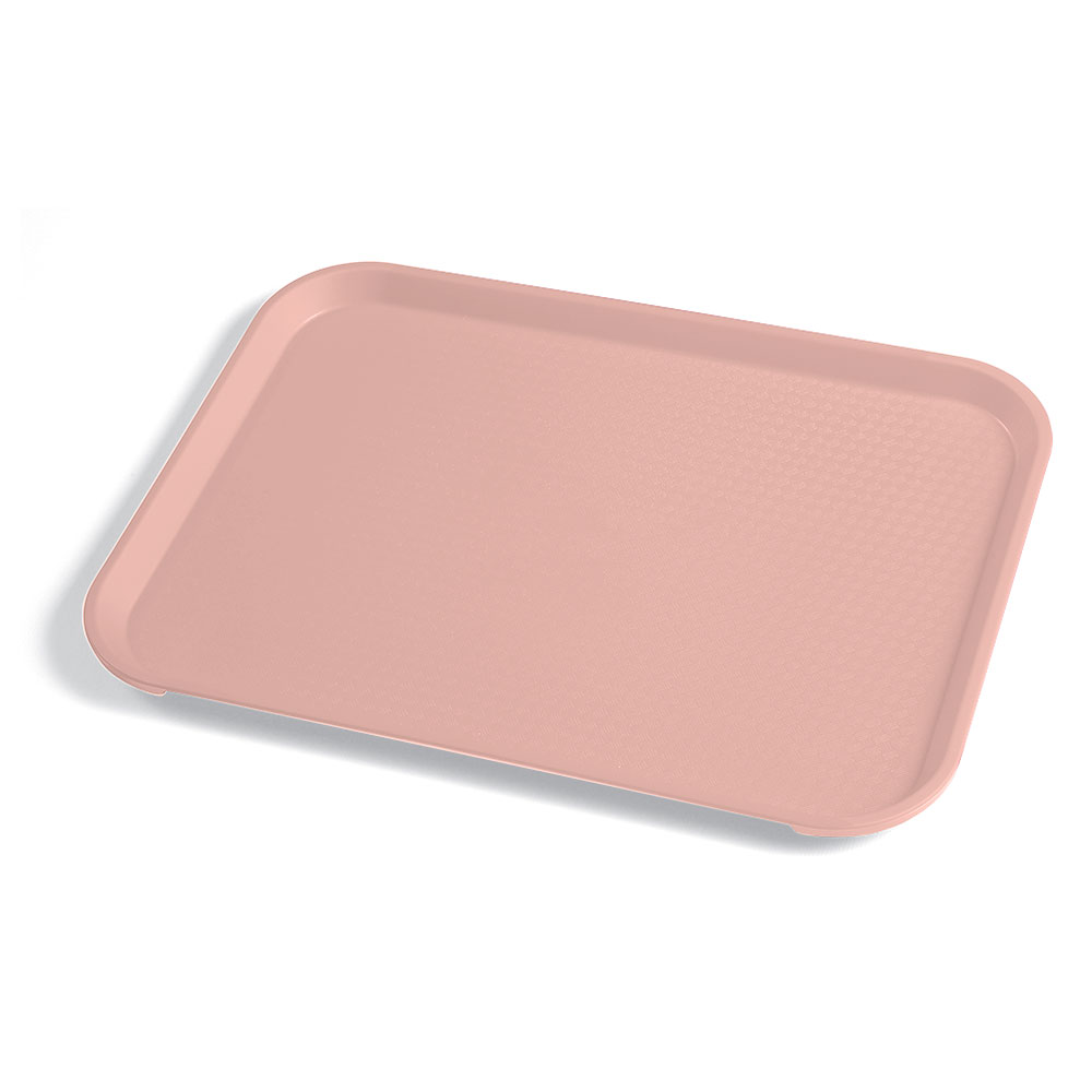 "Cambro 1014FF409 Rectangular Fast Food Tray - 10-7/16x13-9/16"" Blush"
