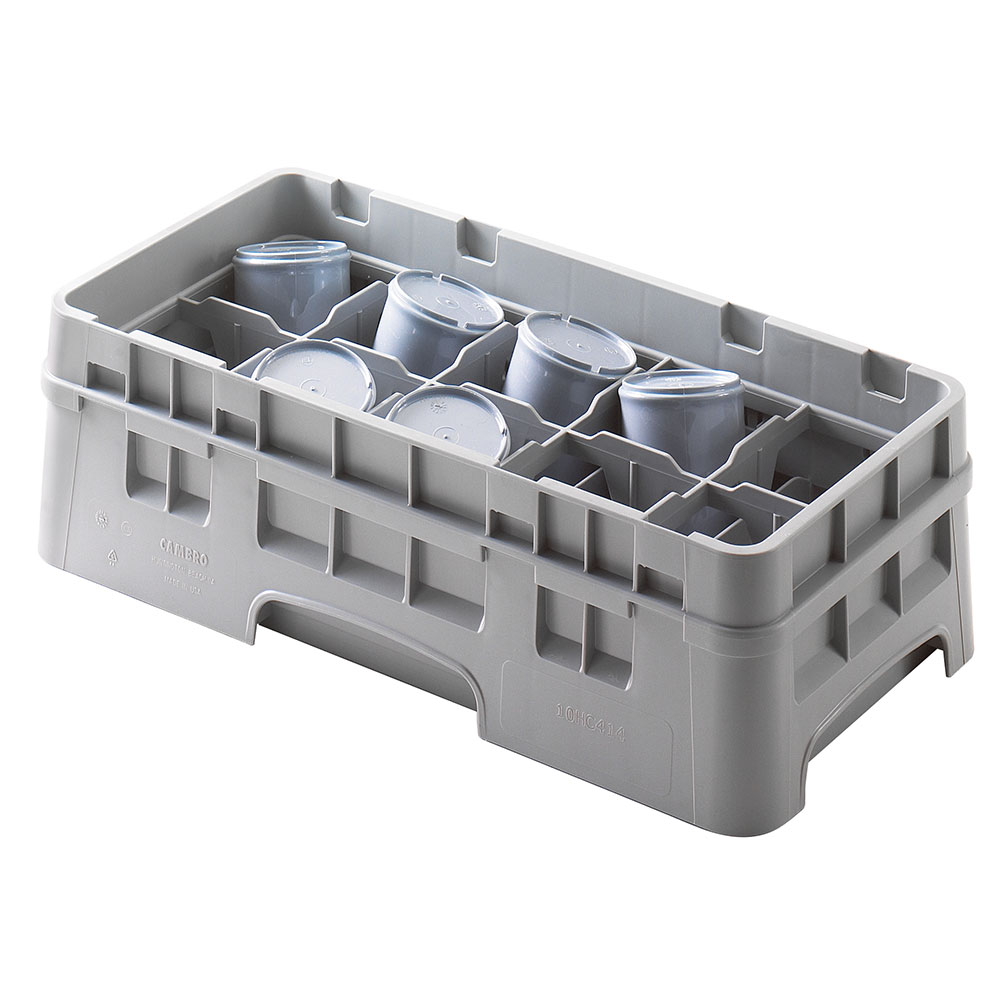 Cambro 10HC414151 Camrack Cup Rack with Extender - 10-Compartment, Half-Size, Soft Gray