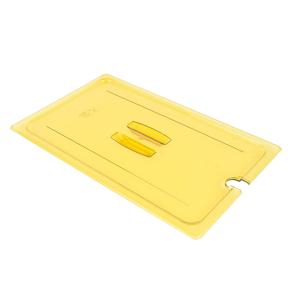 Cambro 10HPCHN150 H-Pan Hot Food Cover - Full-Size, Notched, Handle, Amber