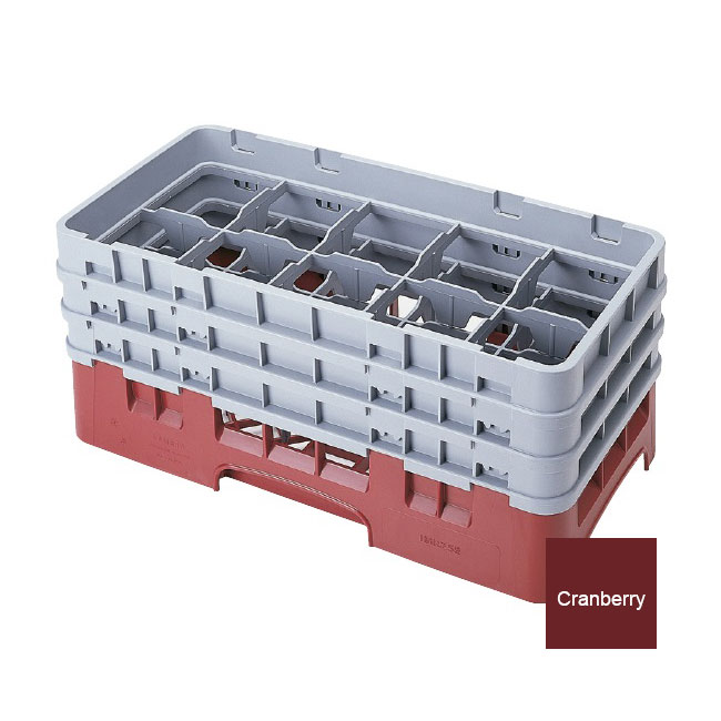 Cambro 10HS1114416 Camrack Glass Rack - (6)Extenders, 10-Compartments, Cranberry
