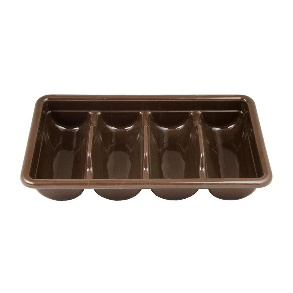 Cambro 1120CBP131 Cambox Cutlery Box - 4-Compartment, Hi-Gloss Plastic, Dark Brown