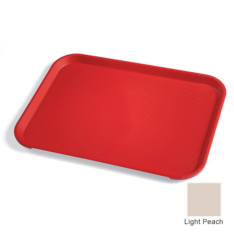 "Cambro 1216FF106 Rectangular Fast Food Tray - 12x16-1/8"" Light Peach"