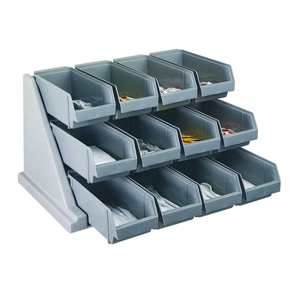 "Cambro 12RS12480 Organizer Rack - 12 Bins, 25-1/8x21-3/8x14-1/4"" Speckled Gray"