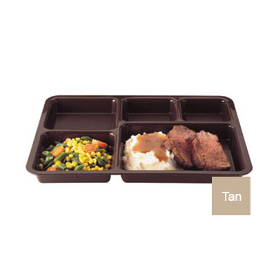"""Cambro 1411CP161 Tray-on-Tray Meal Delivery - 5-Compartment, 14-3/8x10-9/16x1-1/4"""" Tan"""