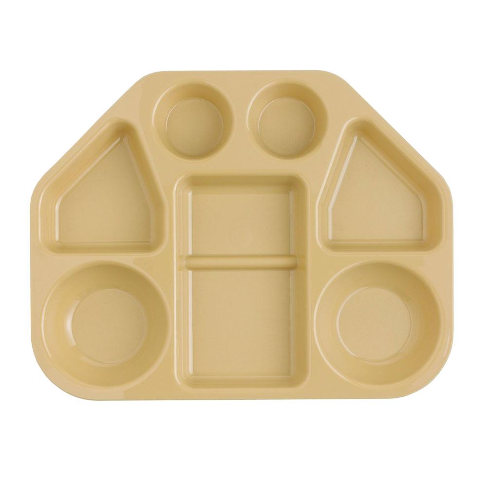 "Cambro 14187TRCW133 Trapezoid Camwear Tray - 7-Compartment, 18x14x1-1/2"" Beige"