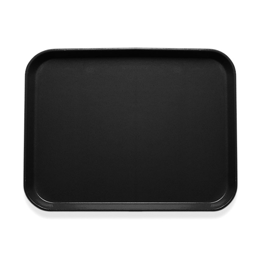 "Cambro 1418CL110 Rectangular Camlite Tray - 14x18"" Black"