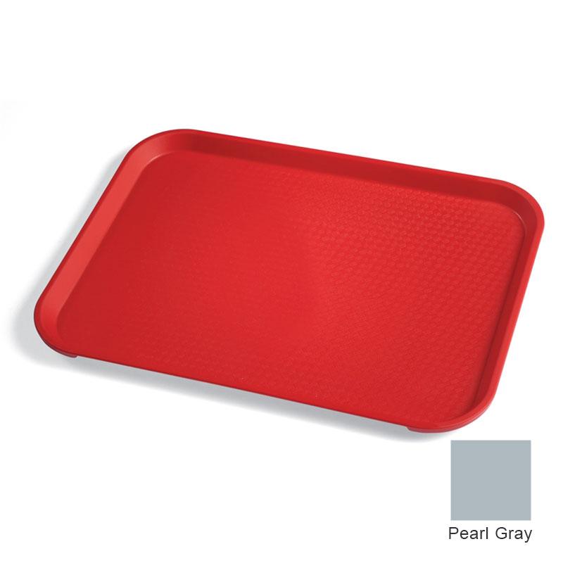 "Cambro 1418FF107 Rectangular Fast Food Tray - 13-13/16x17-3/4"" Pearl Gray"