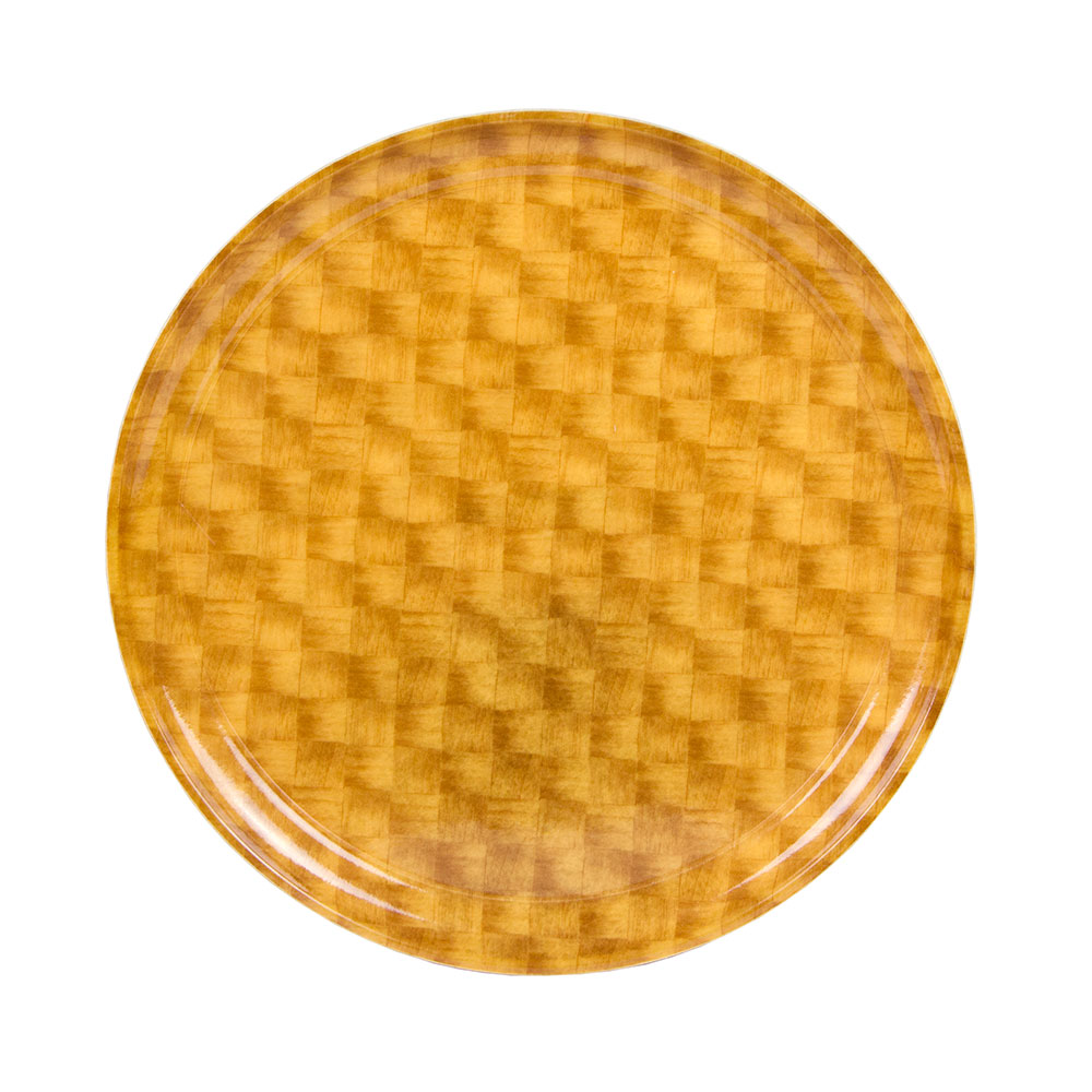 "Cambro 1550302 16"" Round Serving Camtray - Low-Profile, Light Basket Weave"
