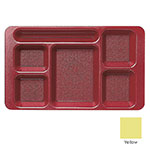 "Cambro 1596CP145 Rectangular Camwear Tray - 6-Compartment, 9x15"" Yellow"