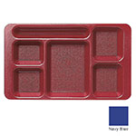 "Cambro 1596CP186 Rectangular Camwear Tray - 6-Compartment, 9x15"" Navy Blue"