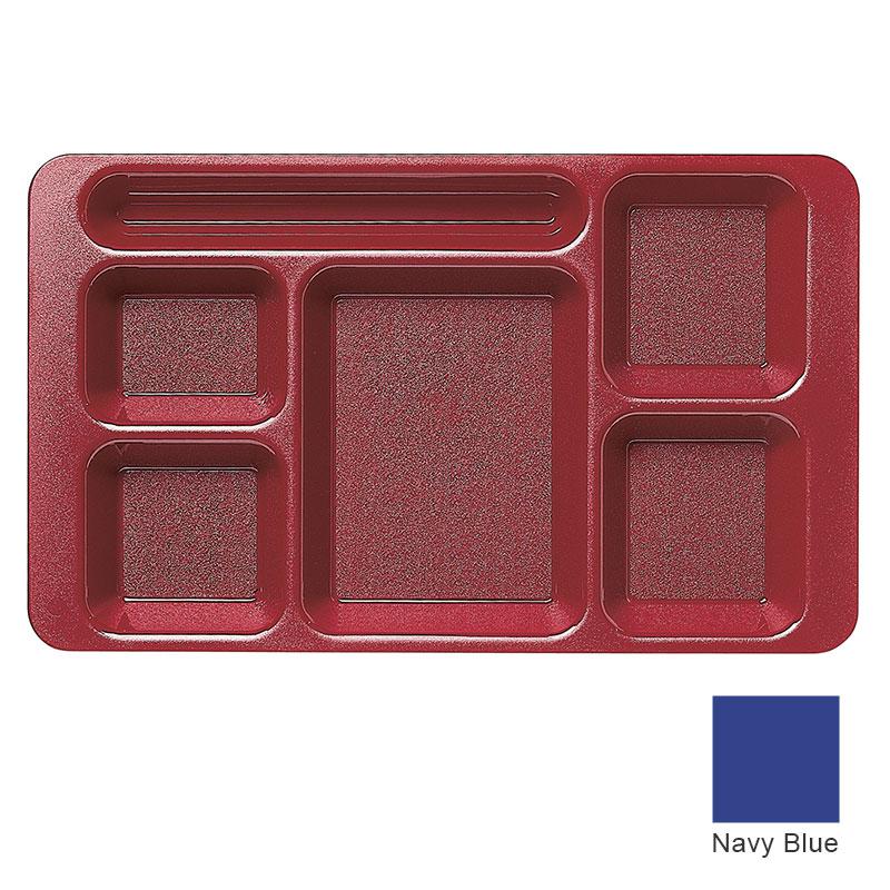 """Cambro 1596CP186 Rectangular Camwear Tray - 6-Compartment, 9x15"""" Navy Blue"""