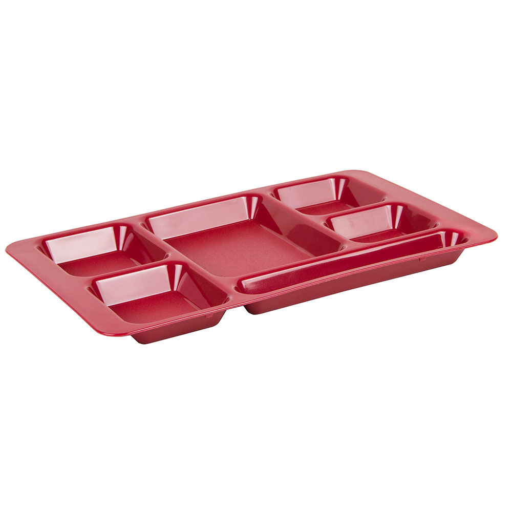 "Cambro 1596CP416 Rectangular Camwear Tray - 6-Compartment, 9x15"" Cranberry"
