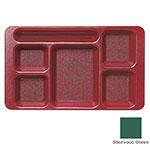"Cambro 1596CW119 Rectangular Camwear Tray - 6-Compartment, 9x15"" Sherwood Green"