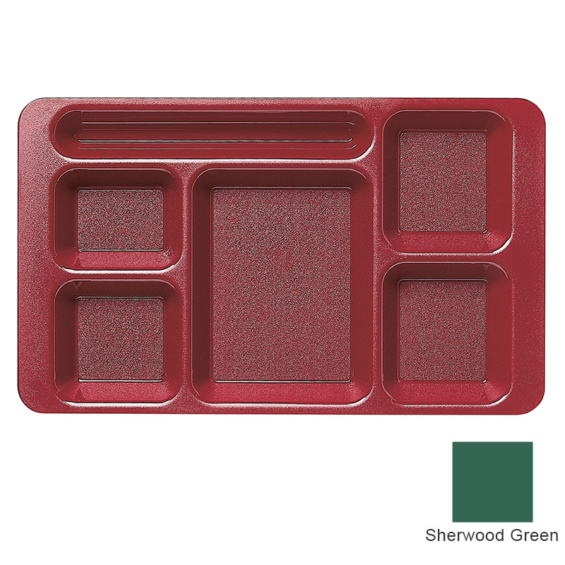 "Cambro 1596CW119 Rectangular Camwear Tray - 6-Compartment, 9x15"" Sherwood Green"