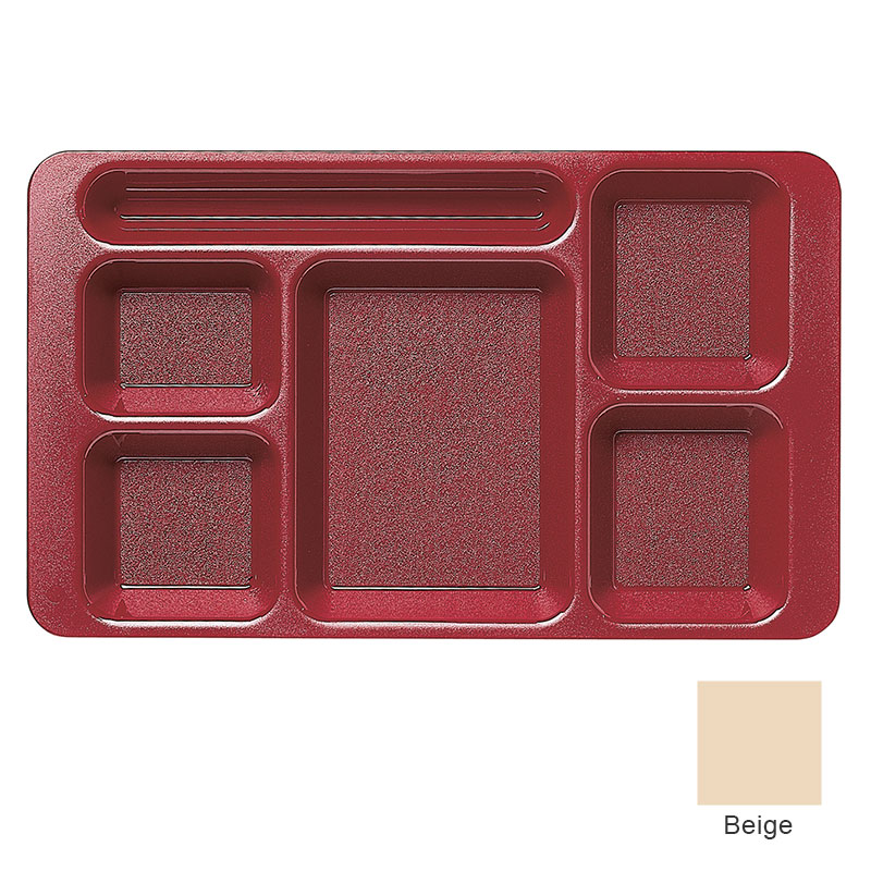 "Cambro 1596CW133 Rectangular Camwear Tray - 6-Compartment, 9x15"" Beige"