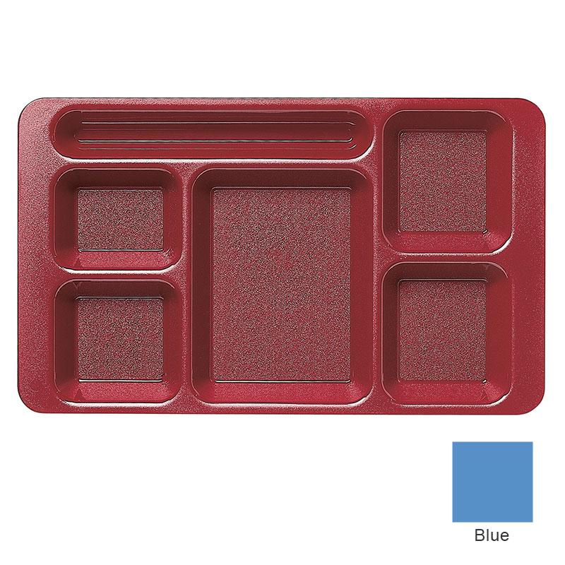 "Cambro 1596CW168 Rectangular Camwear Tray - 6-Compartment, 9x15"" Blue"