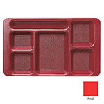 "Cambro 1596CW404 Rectangular Camwear Tray - 6-Compartment, 9x15"" Polycarbonate, Red"