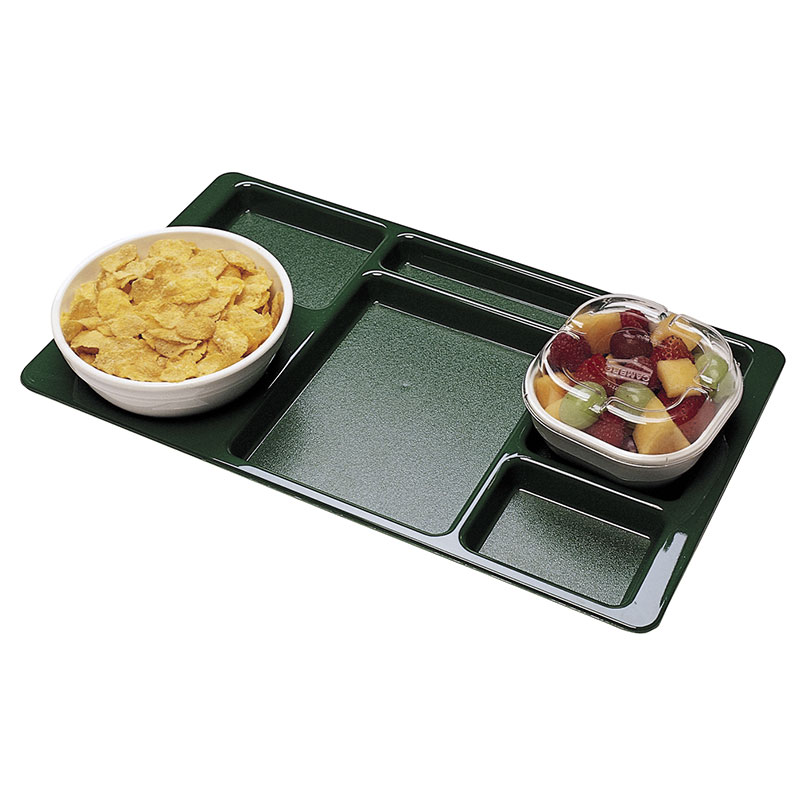 """Cambro 1596CW414 Rectangular Camwear Tray - 6-Compartment, 9x15"""" Polycarbonate, Teal"""