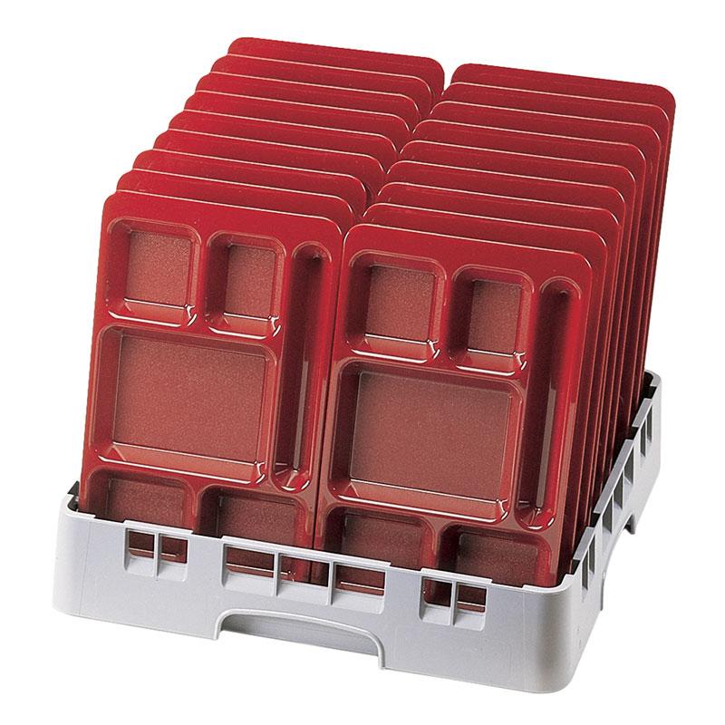 "Cambro 1596CW416 Rectangular Camwear Tray - 6-Compartment, 9x15"" Polycarbonate, Cranberry"